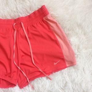 NIKE bright red elastic waistband exercise shorts